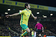 Norwich City midfielder Nelson Oliveira celebrates after scoring the fourth goal during the EFL Sky Bet Championship match between Norwich City and Brentford at Carrow Road, Norwich, England on 3 December 2016. Photo by Nigel Cole.