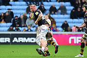 Exeter Chiefs centre Sam Hill  makes the tackle on Wasps flanker Jonny Hill during the Aviva Premiership match between Wasps and Exeter Chiefs at the Ricoh Arena, Coventry, England on 18 February 2018. Picture by Dennis Goodwin.