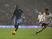 Sheffield Wednesday striker Moudou Sougou driving forward during the Sky Bet Championship match between Fulham and Sheffield Wednesday at Craven Cottage, London, England on 2 January 2016. Photo by Matthew Redman.
