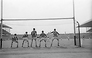 GAA All Ireland Minor football final Derry v. Kerry 26th September 1965 Croke Park...Kerry backs arm the goalmouth as B. Miller (Derry) scores a goal from a 14 yard free ..26.9.1965  26th September 1965