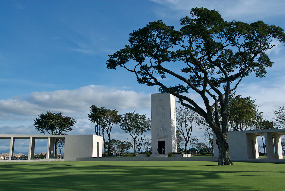 The Chapel of the Manila American Cemetery & Memorial in Fort Bonifacio, The Philippines. The cemetery holds the remains of 16,636 US servicemen and 570 Filipinos who served with US Armed Forces. Inscribed on the walls of the Memorial Hemicycle are the names of 36,285 MIAs.