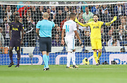 Hugo Lloris after the penalty wistle during the Champions League match between Real Madrid and Tottenham Hotspur at the Santiago Bernabeu Stadium, Madrid, Spain on 17 October 2017. Photo by Ahmad Morra.