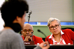 Board of Education members Julia Danzy and Leticia Egea-Hinton, at the monthly meeting at the School District of Philadelphia Headquarters, on February 28, 2019. (Bastiaan Slabbers for WHYY)