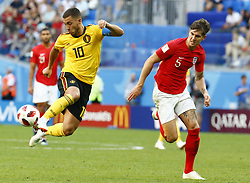 July 14, 2018 - Saint Petersbourg, Russie - SAINT PETERSBURG, RUSSIA - JULY 14 : Eden Hazard midfielder of Belgium & John Stones defender of England during the FIFA 2018 World Cup Russia Play-off for third place match between Belgium and England at the Saint Petersburg Stadium on July 14, 2018 in Saint Petersburg, Russia, 14/07/18 (Credit Image: © Panoramic via ZUMA Press)