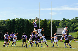 Bristol Lock (#5) Mark Sorenson (capt) competes at a lineout during the match - Photo mandatory by-line: Rogan Thomson/JMP - Tel: Mobile: 07966 386802 01/09/2013 - SPORT - RUGBY UNION - Station Road, Cribbs Causeway, Bristol - Clifton RFC v Bristol Rugby - Pre Season Friendly.