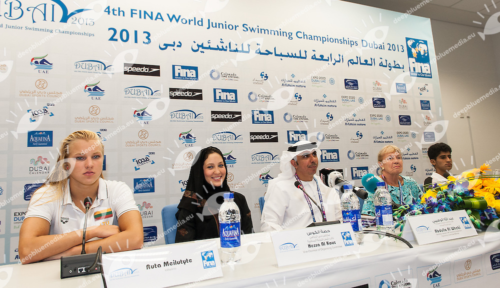 (L to R) MEILUTYTE Ruta LTU, Hessa Al Kous Vice Chairman U.A.E. Swimmming Federation,    Abdulla Al Whebi  Secretary Gen. U.A.E. Swimmming Federation, ZALESKY Carol FINA TSC , SAEED Ali Ahmed  U.A.E. Athlete <br /> 4 FINA World Junior Swimming Championships<br /> Day00 Aug.25 Opening Press Conference<br /> Dubai U.A.E. 26-31 August 2013<br /> Photo G. Scala/Insidefoto/Deepbluemedia.eu