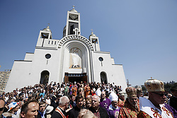 June 5, 2017 - Kiev, Ukraine - People stay around the Patriarchal Cathedral of the Resurrection while the clearing carries the coffin with the body of Cardinal Husar round the church. The former Head of the Ukrainian Greek-Catholic Church, Cardinal Lubomyr Husar was buried in the undercrofts of Patriarchal Cathedral of the Resurrection in Kiev, Ukraine, June 5, 2017. (Credit Image: © Sergii Kharchenko/NurPhoto via ZUMA Press)