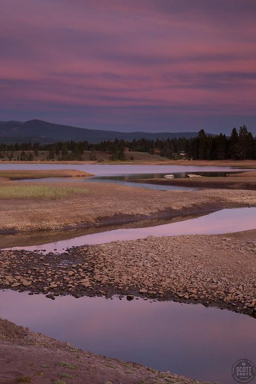 """Alder Creek at Prosser Reservoir Sunset 2"" - Photograph at sunset of Alder Creek at Prosser Reservoir near Truckee, California."