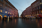 Grodzka street at dusk in winter, Krakow, Poland