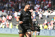Hull FC prop forward Mickey Paea (23) celebrates scoring a try during the Betfred Super League match between Hull FC and Hull Kingston Rovers at Kingston Communications Stadium, Hull, United Kingdom on 19 April 2019.