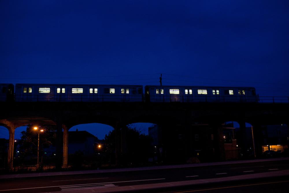 The A train goes through the Brooklyn community of Averne near Rockaway beach in New York on June 24, 2012.