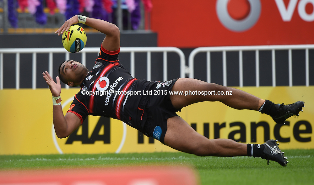 Koli OneOne scores a try during the Junior Warriors v Junior Knights match. NYC Holden Cup U20s Rugby League. Mt Smart Stadium, Auckland. New Zealand. Anzac Day, Sunday 31 May 2015. Copyright Photo: Andrew Cornaga / www.Photosport.co.nz
