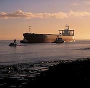 Coal Ship entering Newcastle Harbour, NSW, Australia
