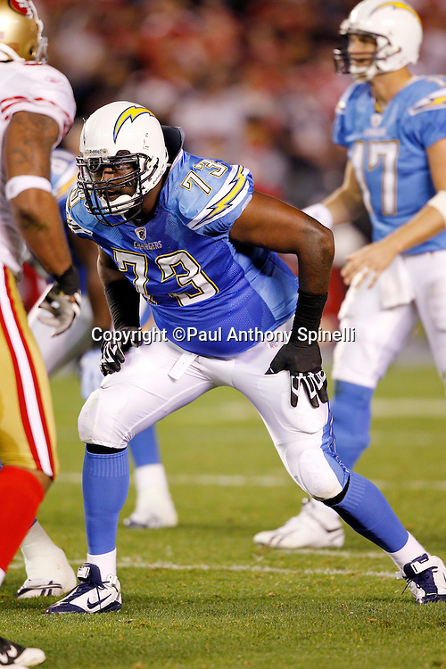 San Diego Chargers offensive tackle Marcus McNeill (73) gets set to block during the NFL week 15 football game against the San Francisco 49ers on Thursday, December 16, 2010 in San Diego, California. The Chargers won the game 34-7. (©Paul Anthony Spinelli)