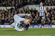 Rob Elliot (Newcastle United) looks where the ball has gone having been beaten by the shot during the Barclays Premier League match between Everton and Newcastle United at Goodison Park, Liverpool, England on 3 February 2016. Photo by Mark P Doherty.