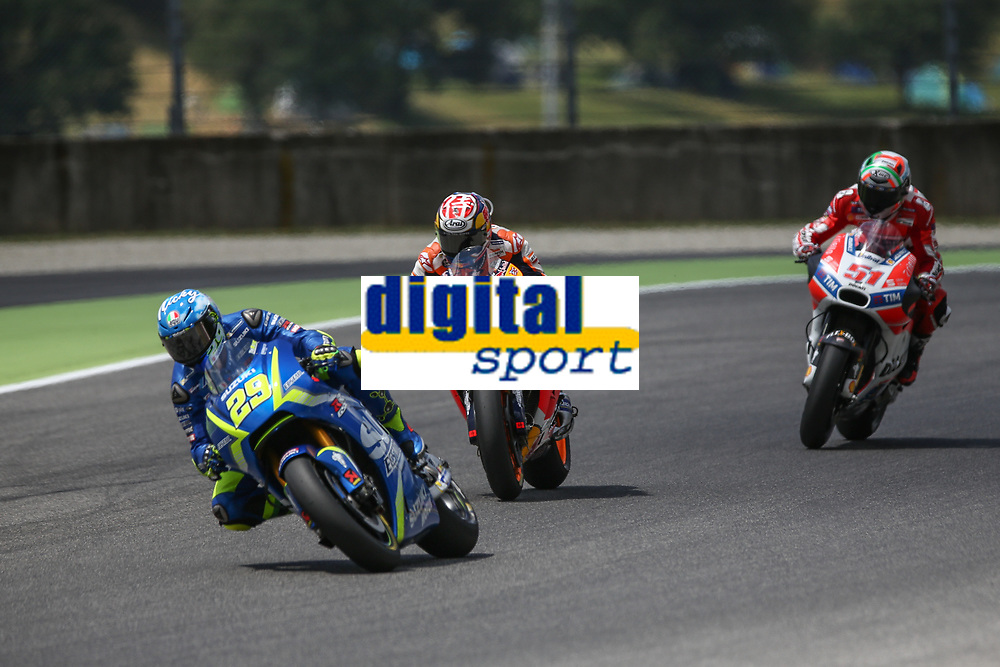Andrea Iannone of Italy and Team SUZUKI ECSTAR, Dani Pedrosa of Spain and Repsol Honda Team, Michele Pirro of Italy and Ducati during the MotoGP Italy Grand Prix 2017 at Autodromo del Mugello, Florence, Italy on 4th June 2017. Photo by Danilo D'Auria.<br /> <br /> Danilo D'Auria/UK Sports Pics Ltd/Alterphotos
