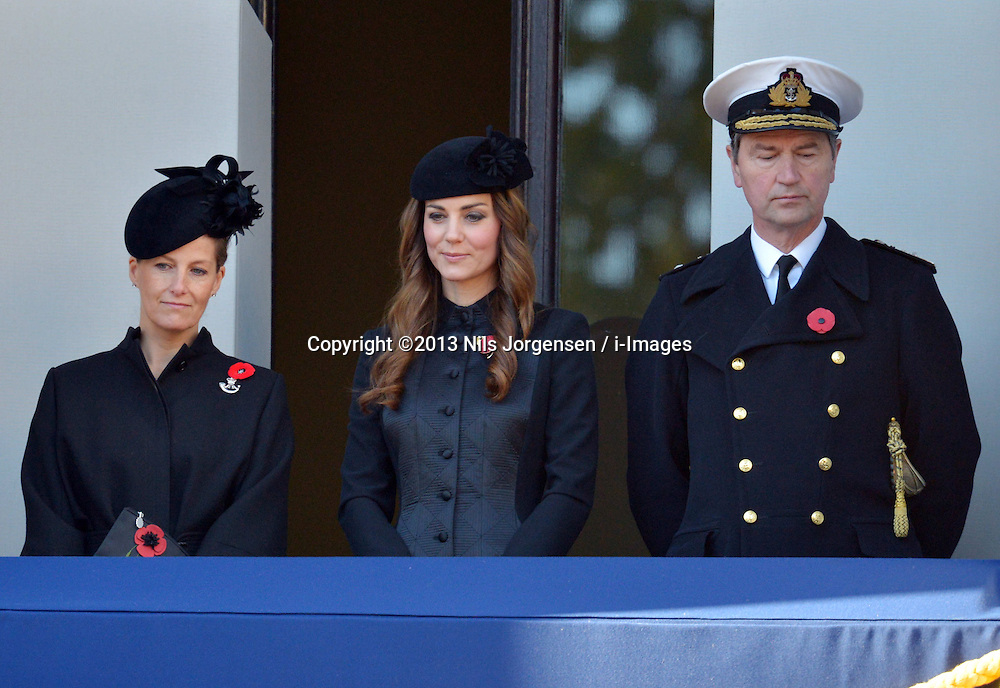 Sophie, Countess of Wessex, Catherine, Duchess of Cambridge and Vice Admiral Sir Timothy Laurence  during the annual Remembrance Sunday Service at the Cenotaph, Whitehall, London, England. Sunday, 10th November 2013. Picture by Nils Jorgensen / i-Images