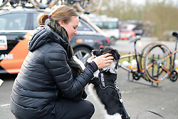 Chantal Blaak and Buddy catch up ahead of the 124.2 km Omloop Het Nieuwsblad - Elite Women on February 25th 2017, starting and finishing in Gent, Belgium. (Photo by Sean Robinson/Velofocus)