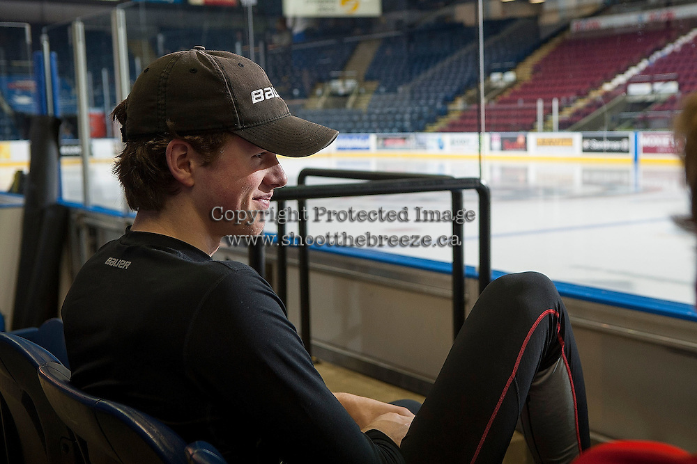 KELOWNA, CANADA - NOVEMBER 21: Lucas Johansen #7 of Kelowna Rockets sits in the stands before the game against the Portland Winterhawks on November 21, 2014 at Prospera Place in Kelowna, British Columbia, Canada.  (Photo by Marissa Baecker/Shoot the Breeze)  *** Local Caption *** Lucas Johansen;