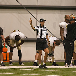 08 August 2009: Female official Sarah Thomas on the field during the New Orleans Saints annual training camp Black and Gold scrimmage at the team's indoor practice facility in Metairie, Louisiana.
