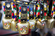Souvenir bells outside of a shop in Switzerland