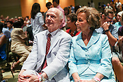 Former Secretary of Education Richard Riley sits with his wife Ann Yarborough Riley during a campaign event by Democratic presidential candidate Hillary Rodham Clinton at Trident Tech June 17, 2015 in North Charleston, South Carolina. Riley, a former Governor of South Carolina served as Education Secretary for President Bill Clinton.