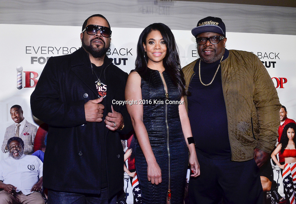 "WASHINGTON, DC - MARCH 16:  Ice Cube, Regina Hall, and Cedric the Entertainer,  attend a screening of Warner Bros. Pictures' ""BARBERSHOP: THE NEXT CUT"" at  AMC Mazza Gallerie on March 16, 2016 in Washington, DC. (Kris Connor/Warner Bros. Pictures)"