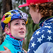 Sunday, Dec. 16, 2018 — Ellen Noble congratulates U23 winner Spencer Petrov at the 2018 USA Cycling Cyclocross National Championships 18.2 in Louisville, KY. #CXNATS #photopresse.photoshelter.com #CYCLOCROSS #CX #FUJIXPRO2 #FUJIFILM #ELLENNOBLE #ELLENLIKESBIKES #SPENCERPETROV #SPENCERCX1