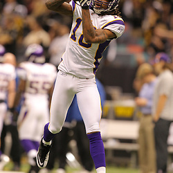 Jan 24, 2010; New Orleans, LA, USA; Minnesota Vikings wide receiver Sidney Rice (18) catches a pass during warm ups prior to kickoff of the 2010 NFC Championship game at the Louisiana Superdome. Mandatory Credit: Derick E. Hingle-US PRESSWIRE