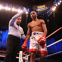 Thomas Dulorme is stopped in the seventh round in his fight for the WBC International title during the HBO Triple Explosion fight at the Turning Stone Resort Casino in Verona, NY, on Saturday, Oct 27, 2012.  Abregu won the bout by TKO in the 7th round.(AP Photo/Alex Menendez)