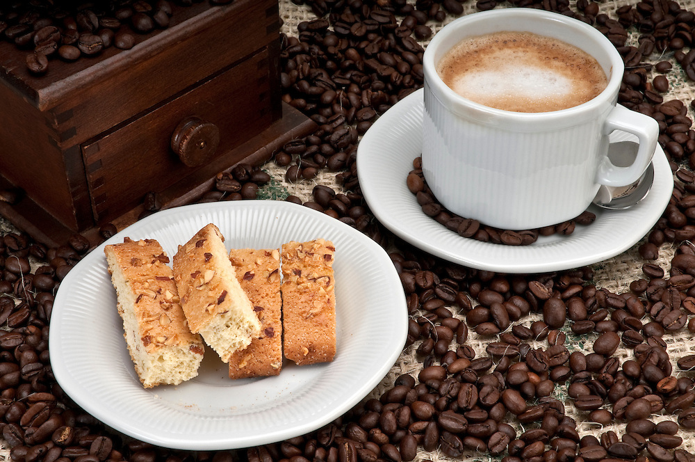 Cappuccino Coffee and italian Biscotti with Almonds and Walnuts