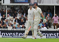 Cricket - 2017 South Africa Tour of England - Third Test, Day One<br /> <br /> Debutant Tom Westley comes out to bat for England as fellow Essex team mate Alastaire Cook gives him a few words of advice during the morning session, at The Oval.<br /> <br /> COLORSPORT/ANDREW COWIE