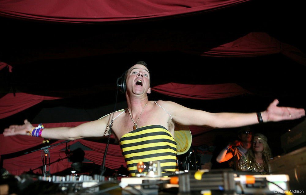 DJ Fatboy Slim plays at Glastonbury 2007.