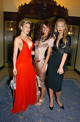 Left to right, HOFIT GOLAN, JASMINE LENNARD and SAM ROWLEY at Respoke Bespoke in aid of the Rainforest Foundation held at Claridges, Brook Street, London on 18th October 2006.<br />