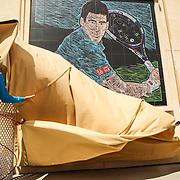 Novak Djokovic unveils champions mural at the Indian Wells Tennis Garden in Indian Wells, California Friday, March 11, 2016. (Photo by Billie Weiss/BNP Paribas Open)