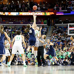 April 7, 2013; New Orleans, LA, USA; Connecticut Huskies forward Breanna Stewart (30) and Notre Dame Fighting Irish forward Natalie Achonwa (11) jump for the tipoff during the first half in the semifinals during the 2013 NCAA womens Final Four at the New Orleans Arena. Mandatory Credit: Derick E. Hingle-USA TODAY Sports