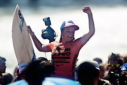 HUNTINGTON BEACH, California/USA (Saturday,Aug 6, 2011)  Lakey Peterson reacts as is carried on fans shoulders to the awards ceremony after  winning the Hurley US Open of Surfing PRO Junior.  Photo: Eduardo E. Silva.