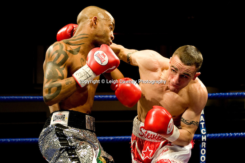Steve Williams (white shorts) defeats Michael Grant at York Hall, Bethnal Green, London on the 12th February 2010 Matchroom Sport. Photo credit: © Leigh Dawney