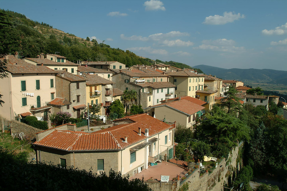 View of Cortona, Italy from hill.