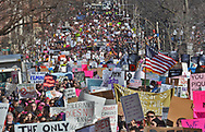 (BOSTON, MA 012117) People make their way down Beacon Street during the Women's March For America. Staff photo Chris Christo