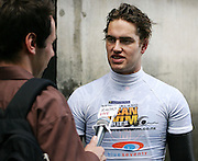 Commonwealth Games medallist Moss Burmester talks with the media during the media launch for the Sovereign NZ National Ocean Swim Series held aboard the Ocean Eagle at the Viaduct in Auckland, New Zealand on Tuesday 3 October, 2006. Photo: Tim Hales/PHOTOSPORT