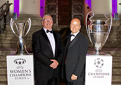 CARDIFF, WALES - Wednesday, August 31, 2016: FAW President David Griffiths [L] and FAW Chief-Executive Jonathan Ford [R] with the European Cup trophies during a gala dinner at the Cardiff Museum to launch the UEFA Champions League Finals 2017 to be held in Cardiff. (Pic by David Rawcliffe/Propaganda)