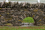 Stone wall arch for small game and surface water run off are part of the construction examples to be seen at Shaker Village in Mercer County KY
