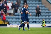 10th August 2019; Dens Park, Dundee, Scotland; SPFL Championship football, Dundee FC versus Ayr; Goalscorer Andrew Nelson of Dundee is congratulated by Shaun Byrne at the end of the match