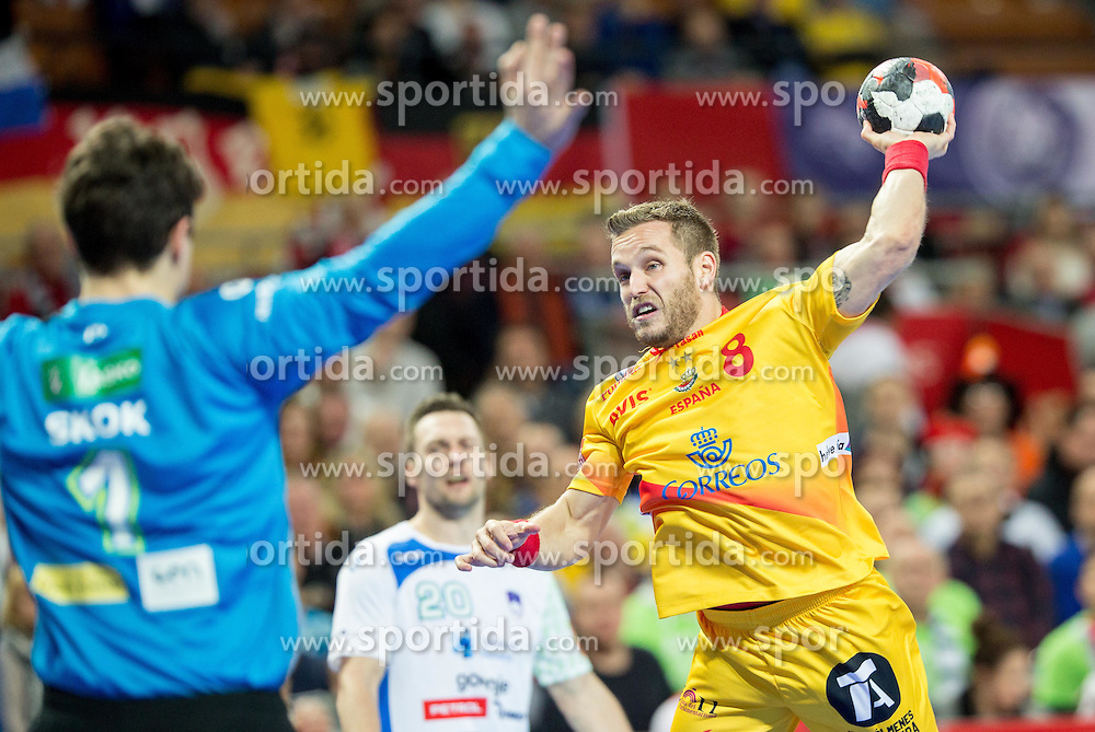 Matevz Skok of Slovenia vs Victor Tomas of Spain during handball match between National teams of Slovenia and Spain on Day 4 in Preliminary Round of Men's EHF EURO 2016, on January 18, 2016 in Centennial Hall, Wroclaw, Poland. Photo by Vid Ponikvar / Sportida
