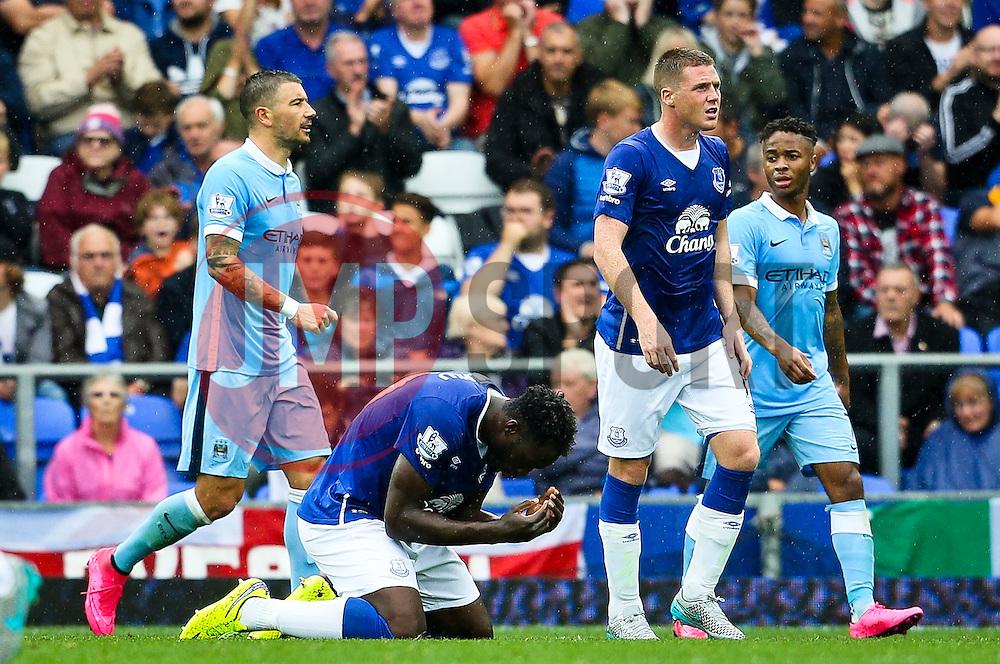 Everton's Romelu Lukaku reacts after missing his goal is disallowed - Mandatory byline: Matt McNulty/JMP - 07966386802 - 23/08/2015 - FOOTBALL - Goodison Park -Everton,England - Everton v Manchester City - Barclays Premier League