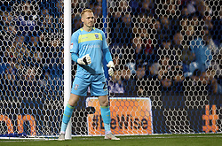 Sheffield Wednesday goalkeeper Cameron Dawson instructs his wall during the game