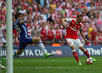 Football - 2017 FA Cup Final - Arsenal vs. Chelsea<br /> <br /> Mesut Ozil of Arsenal tries to curl home his shot at Wembley.<br /> <br /> COLORSPORT/DANIEL BEARHAM