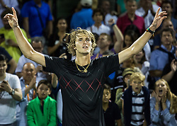 March 30, 2018 - Miami, Florida, United States - Alexander Zverev, from Germany, celebrating his victory against Pablo Carreno Busta, from Spain, after the semi final match at the Miami Open in Key Biscayne. Zverev defeated Carreno Busta 7-6(4), 6-2 in Miami, on March 30, 2018. (Credit Image: © Manuel Mazzanti/NurPhoto via ZUMA Press)
