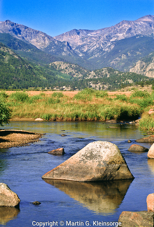 The Big Thompson River flows through Moraine Park during the late summer.  Rocky Mountain National Park, Colorado.